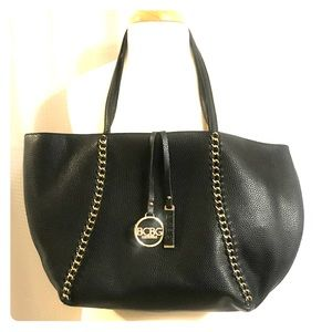 BCBG Black Vegan Leather Tote And Shoulder Bag